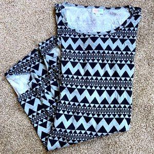 LULAROE Irma Tunic Top, Black & Gray, Size Large